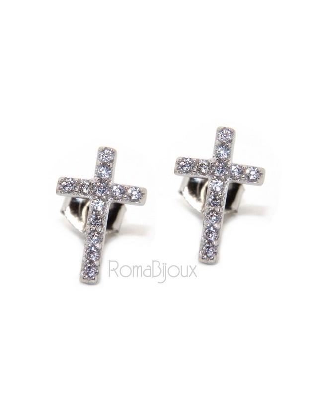 Silver 925: man / woman earrings light cross pendant white zircon 11x7.5 mm