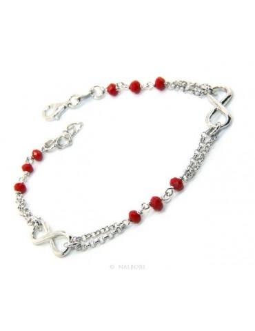 Bracciale uomo donna Argento 925 lavorazione a rosario cristallo rosso con infinito 15,50-18,00 cm