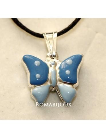 Ciondolo Argento 925 : farfalla smaltata verde rosa azzurra