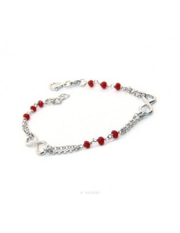 Man Woman Bracelet Silver 925 red rosary workmanship with infinite 15,50-18,00 cm