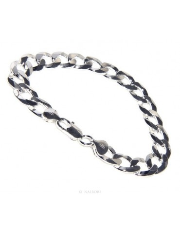 SILVER 925: 11mm Man's Chain Bracelet Long Heavy Dumbbell 22cm Full Heavy