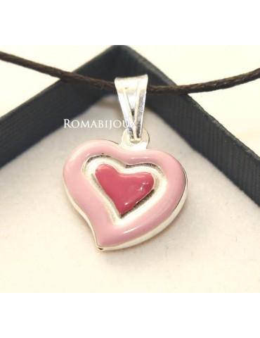 Ciondolo Argento 925 : cuore smaltato 2 toni celeste rosa