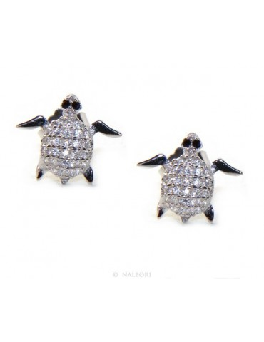 Silver Turtle Earrings With Pavilion Microsetting Of Small White Zirconia Brilliant Cut