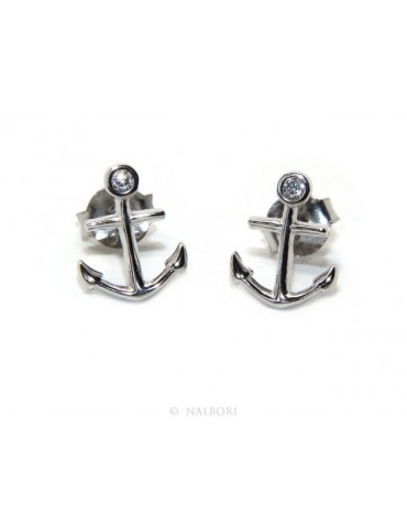 earrings for men or women 925 silver anchor-shaped brilliant-cut white zircon in cipollino
