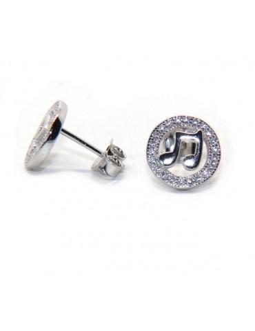 Orecchini donna o uomo argento 925 a bottone note musicali e giro di zirconi bianchi