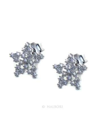 Women's 925 silver earrings in the shape of a star with white zircons