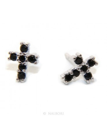 Earrings for men or women in 925 silver with small black cubic zirconia stones