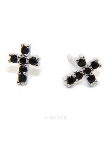 Orecchini per uomo o donna in argento 925 con pietre zirconia cubica colore nero piccoli