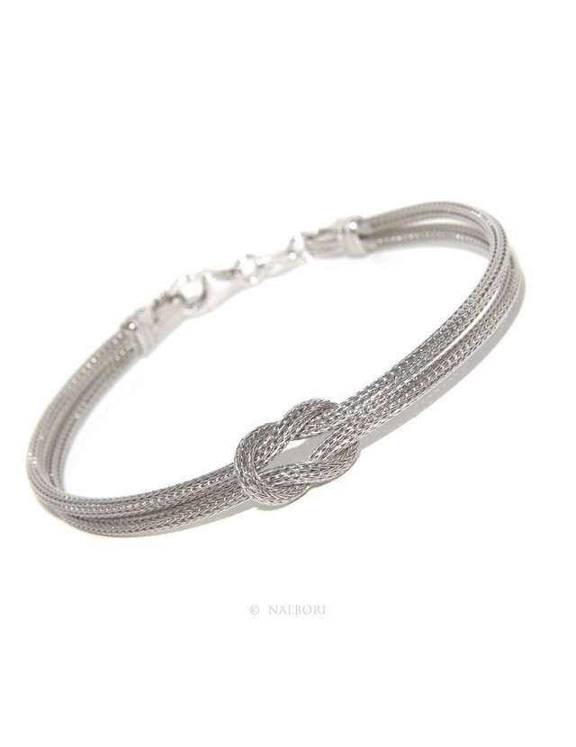 925: bracelet fox tail double wire with square knot for men and women from 15 to 21 cm