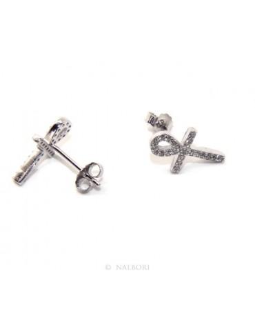 Orecchini per donna croce egizia chiave della vita in argento 925 con pietre zirconia cubica colore bianco