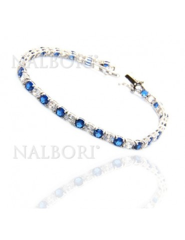 Woman's bracelet in 925 Sterling Silver Tennis model With blue sapphire and white 4 mm 17.5 cm cubic zirconia jaws