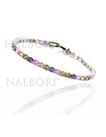 Woman's bracelet in 925 Sterling Silver Tennis model With yellow green purple rose 4 mm 17.5 cm cubic zirconia jaws