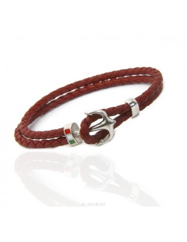 SILVER 925: massive leather bracelet man anchor made in Italy - RED