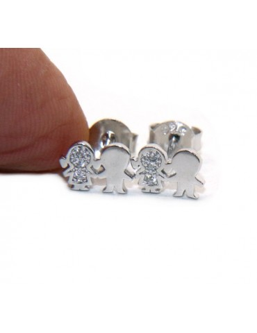 Argento 925 : orecchini donna zirconi bianchi bambino e bambina