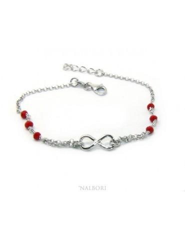 Bracciale uomo donna Argento 925 lavorazione a rosario cristallo rosso con 1 elemento infinito 17,50-19,50 cm