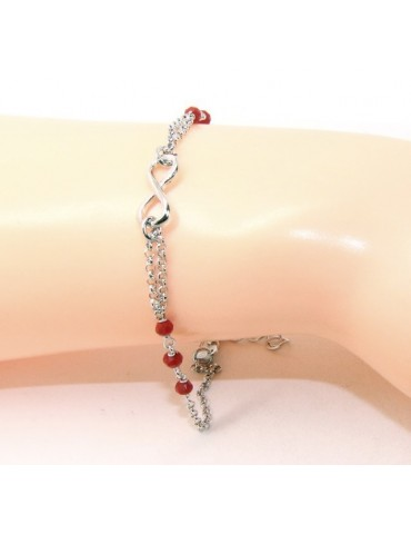 Bracelet man woman Silver 925 rosary working red crystal with 1 infinite element 17,50-19,50 cm