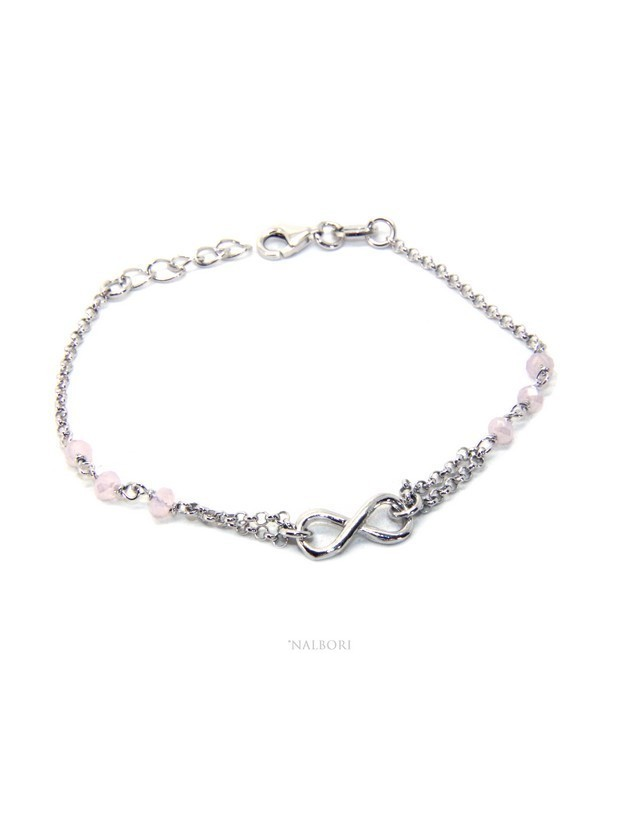 Bracelet man woman Silver 925 rosary crystal pink light with 1 infinite element 15.00 -17.50 cm