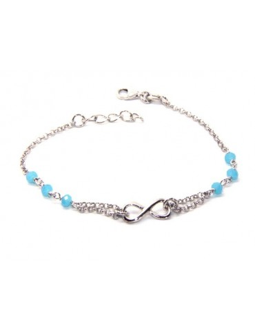 Bracelet man woman Silver 925 rosary crystal light blue with 1 infinite element 15.00 -17.50 cm