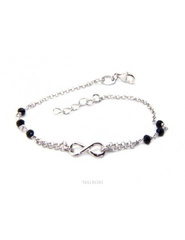 Bracelet man woman Silver 925 rosary working black crystal with 1 infinite element 17,50-19,50 cm