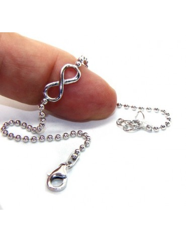 Bracelet man woman 925 Sterling Silver 2 mm ball chain and 1 infinite element 17.50-20.50 cm