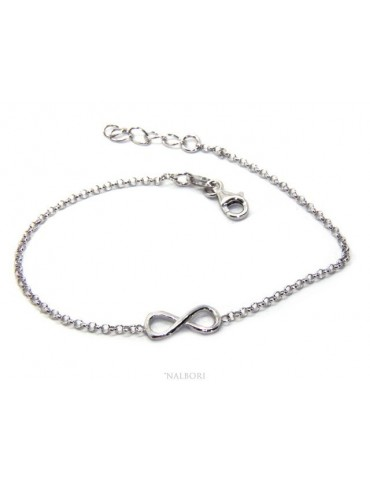 Bracelet man woman Silver 925 rolo chain 'about 2 mm and 1 infinite element 17.50-20.00 cm