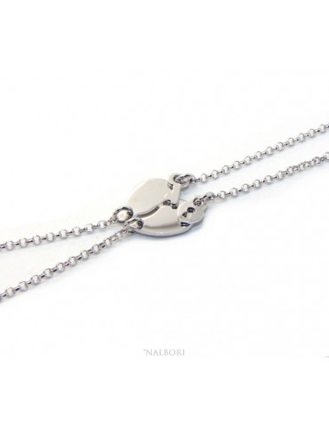 Double bracelet HE and LEI man woman in Sterling Silver broken heart small to break key padlock