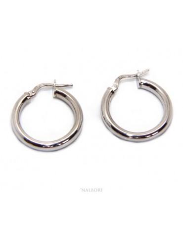 orecchini donna Argento 925 anelle cerchi boccole lisce classiche 21,5  mm 2 colori