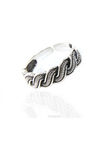 Silver 925: Ring man faith woman braid braid open adjustable dark band