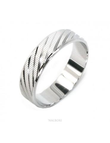 Argento 925 : Anello fede fedina diamantata massiccia 6 mm oblique per uomo o donna