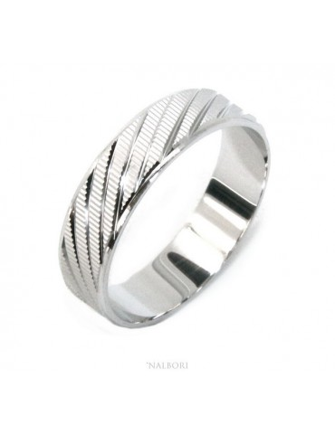 Silver 925: Solid diamond ring faith 6 mm oblique for men or women