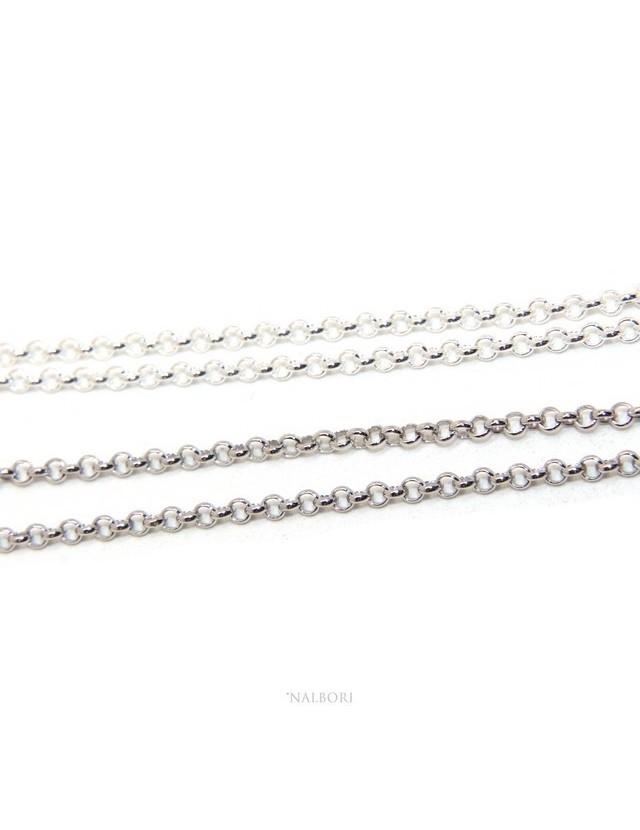 NALBORI necklace woman or man rolo 'SILVER 925 cm 45 + 5 in 2 colors