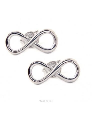 orecchini uomo e donna in argento 925 perno e farfallina con simbolo dell'infinito