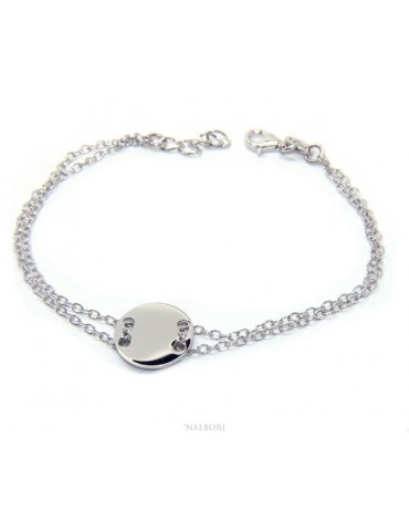 647/5000 Bracelet man woman 925 Sterling Silver with central button rhodium 17,00 - 20.00 cm