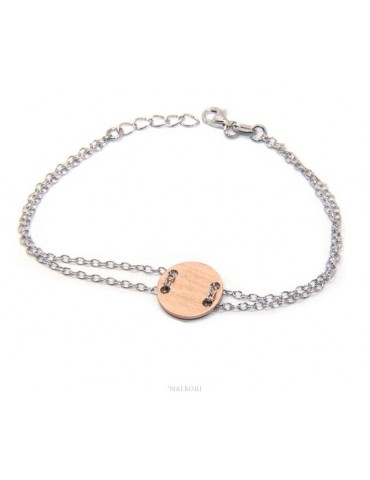 647/5000 Bracelet man woman 925 Sterling Silver with central button rosa satin 17,00 - 20.00 cm