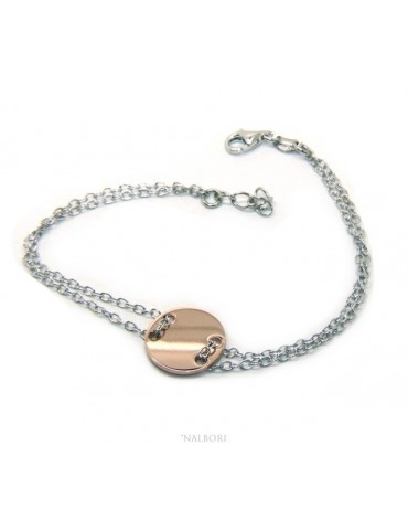 647/5000 Bracelet man woman 925 Sterling Silver with central button rose gold plate 17,00 - 20.00 cm
