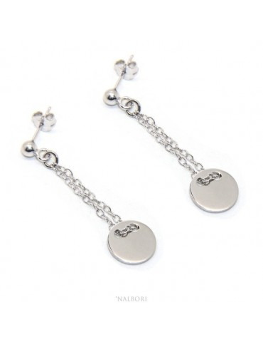 Silver 925: women's earrings with ball and button pendant