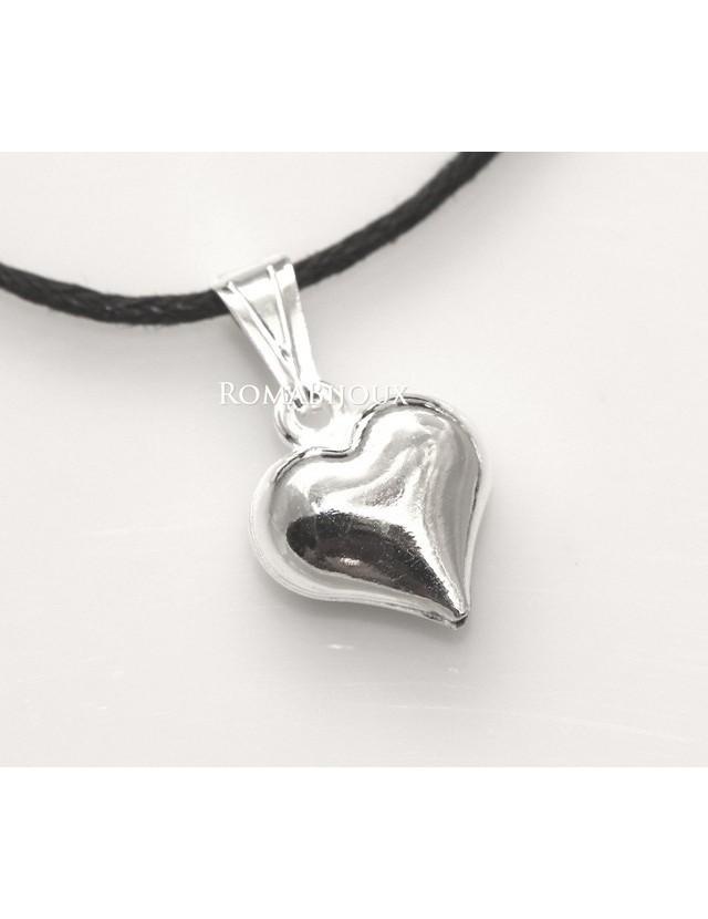 Argento 925 : Pendente cuore piccolo a punta con laccio catena collana