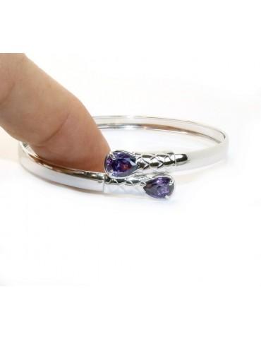 SILVER 925: Woman slave bracelet open contrarie green zircon drop 2 griffe