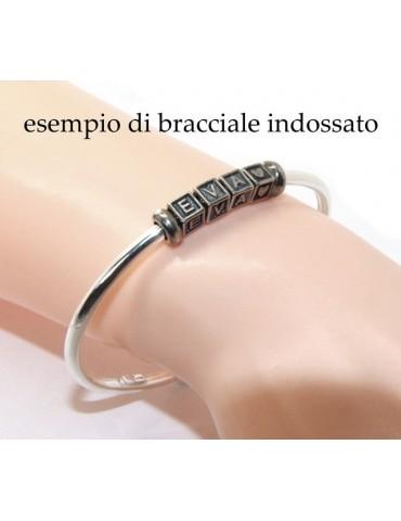 ARGENTO 925 : Bracciale donna uomo CHARME chiusura brevettata ovale - Nalbori componibili - con 2 STOP 3 lettere LIA