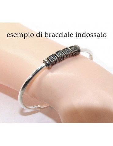 ARGENTO 925 : Bracciale donna uomo CHARME chiusura brevettata ovale - Nalbori componibili - con 2 STOP 4 lettere INES