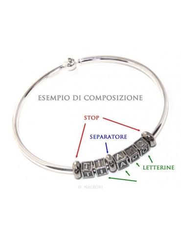ARGENTO 925 : Bracciale donna uomo CHARME chiusura brevettata ovale - Nalbori componibili - con 2 STOP 4 lettere EMMA