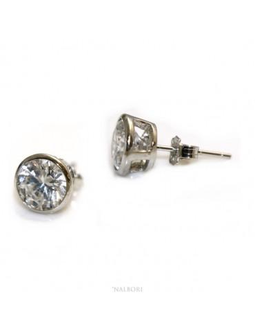 Argento 925 : orecchini donna uomo grandi cipollina 8 mm zirconi bianchi