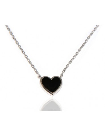 Necklace Collier woman heart black onyx stone 12x2