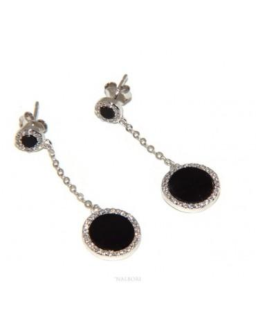 Argento 925 : coppia di orecchini donna pendenti doppia pietra onice nero cornice zirconi