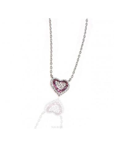 Collana Collier donna ARGENTO 925 con pendente cuore pavè micro pietre bianche e rosso rubin