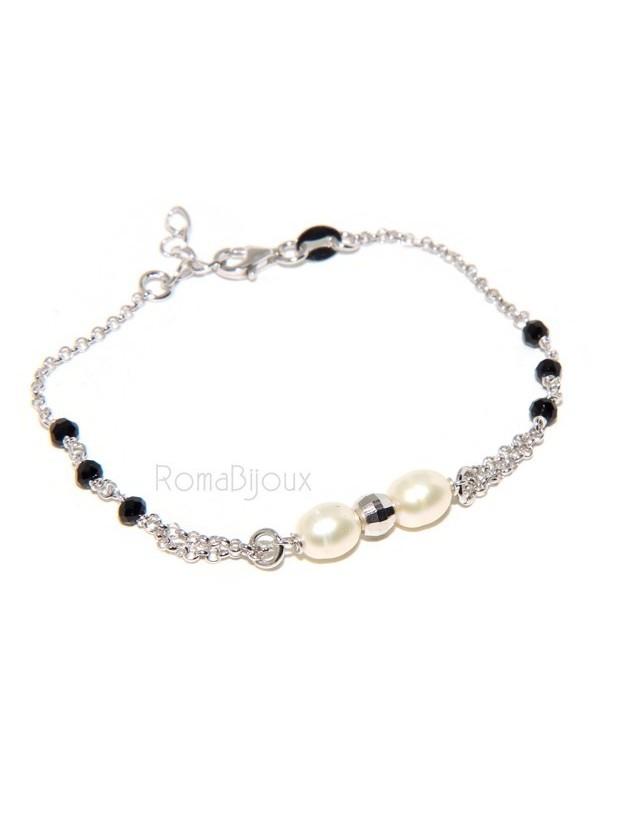 Bracciale lavorazione a rosario donna in Argento 925 perle coltivate e pallina diamantata 16-19 cm