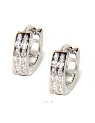 Silver 925 earrings man woman circle anelle bushes with 2 rows of cubic zirconia 13mm