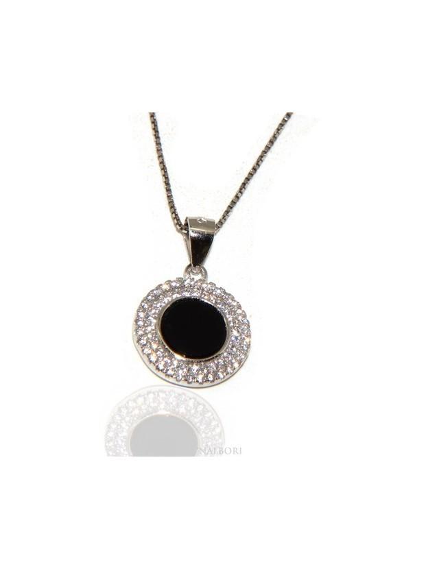 Argento 925 Collana Collier donna tondo pietra onice nero doppia cornice zirconi bianchi