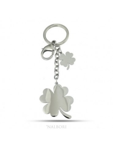 Key ring man or woman in steel hook and ring with four-leaf clover laser cut
