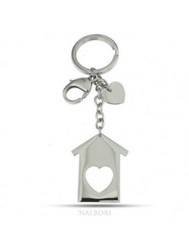 Key ring man or woman in steel hook and ring house and heart laser cut